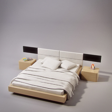 Notte Gruppo bed and onda2 nightstand 3D Model