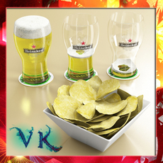 Chips Bowl and Pint of Beer 3D Model