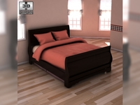 Ashley Huey Vineyard Twin Sleigh Headboard Bed 3D Model