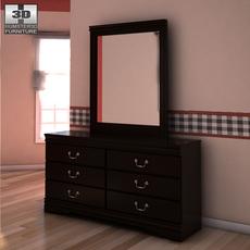 Ashley Huey Vineyard Dresser & Mirror 3D Model