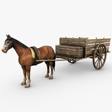 Old wooden cart with horse 3D Model