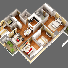Detailed House Cutaway View 3D Model