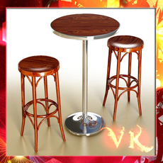 Bar Table and Stool 3D Model