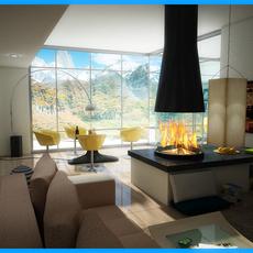 Modern Living Room Interior Scene 02 3D Model