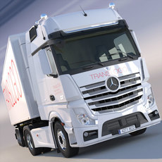 new Mercedes Actros MP4 GigaSpace 2012 Truck with refrigerated semitrailer 3D Model