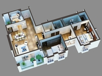Cutaway Residential Building 3D Model