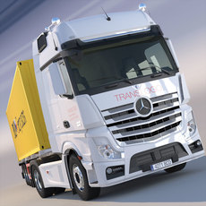 New Mercedes Actros MP4 Gigaspace 2012 Truck with 40ft Container trailer 3D Model