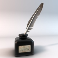 Quill pen and ink bottle 3D Model