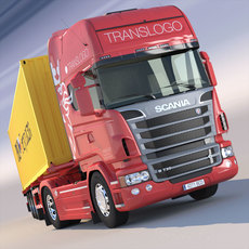 Scania R 730 V8 with 40ft COntainer Trailer 3D Model