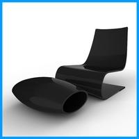 Minimalist Chair And Ottoman 3D Model