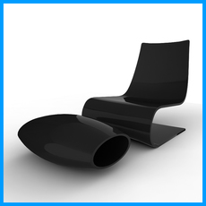 Minimalist Chair And Ottoman 3D Model