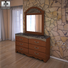 Ashley Fairbrooks Estate Panel Dresser & Mirror 3D Model