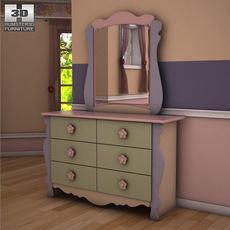 Ashley Doll House Sleigh Dresser & Mirror 3D Model