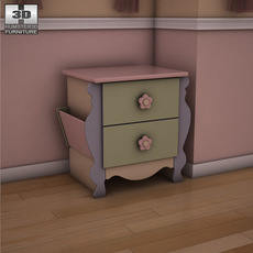 Ashley Doll House Sleigh Nightstand 3D Model