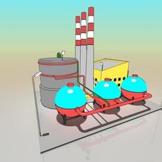 Simple Cartoon Factory 3D Model