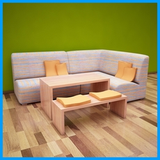 Couch with Table and Bench 3D Model