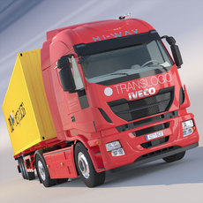 New IVECO Stralis Hi Way 40 ft containers trailer 3D Model