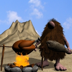 Cartoon Caveman Character Rigged 3D Model
