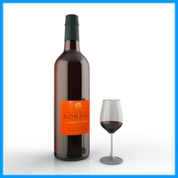 Wine Bottle and Wine Glass 3D Model