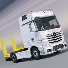 Mercedes Actros 2012 MP4 Gigaspace with Flatbed semi truck 3D Model