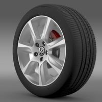 VW Polo 2010 Sedan wheel 3D Model