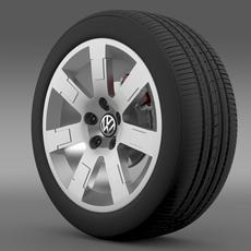 VW Polo Blue UK 2010 wheel 3D Model
