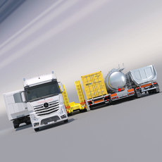Mercedes Actros 2012 MP4 Gigaspace with 5 semi trucks 3D Model