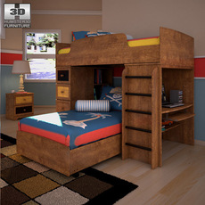 Ashley Alexander Youth Loft Bedroom Set 3D Model