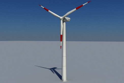 Wind Turbine Land Realtime 3D Model