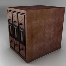3 Shelf Wood Filing Cabinet 3D Model