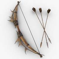 Fantasy Bow and Arrow 3D Model