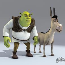 SHREK & DONKEY 3D Model