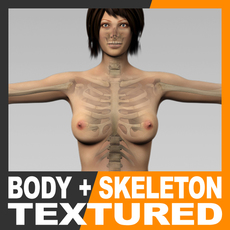 Human Female Body and Skeleton - Anatomy 3D Model