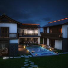 An East Asia Style Villa 3D Model