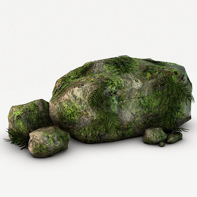 Mossy Rocks with Plants 3D Model