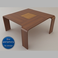 Free Axial Wooden Table 3D Model