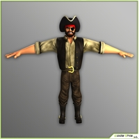 Cartoon Male Pirate T-Pose Version 3D Model