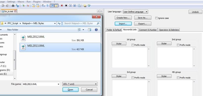 MEL XML For Notepad++ (Maya 2013 Commands) for Maya