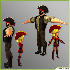 Cartoon Male and Female Pirates T-Pose Version 3D Model