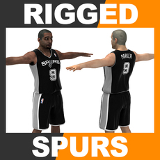 Rigged Basketball Player - San Antonio Spurs 3D Model