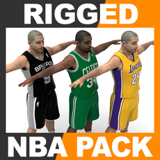 Rigged Basketball Players - NBA Pack 3D Model