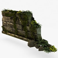 Broken Stone Wall 3D Model