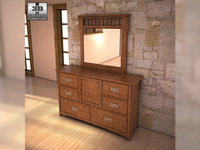 Ashley Colter Dresser & Mirror 3D Model