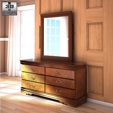 Ashley Wilmington Dresser & Mirror 3D Model