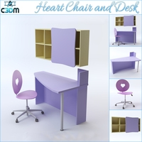 Heart Chair with Desk and Shelving 3D Model