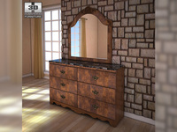 Ashley Buckingham Dresser & Mirror 3D Model
