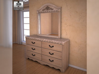 Ashley Silverglade Dresser & Mirror 3D Model