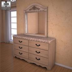 Ashley Silverglade Dresser & Mirror 3D Model
