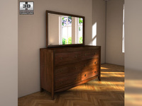Ashley Ashlyn Dresser & Mirror 3D Model