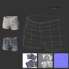 07 27 22 556 jeans hotpants 3d render wireframe normal map 4